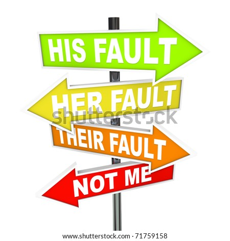 Several colorful arrow street signs with words Not Me - His, Her and Their Fault, symbolizing the twisting of the truth and shifting of blame - stock photo