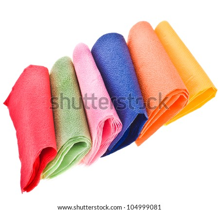 several colors.  square napkins isolated on a white background - stock photo