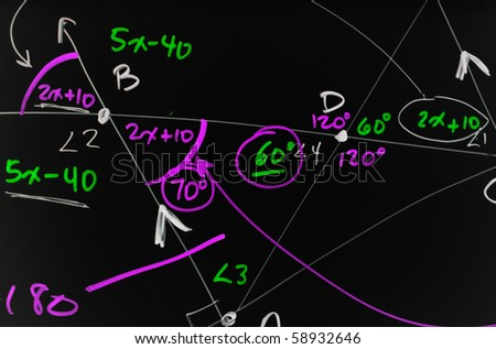 Several complex mathematical formulas, equations, and geometry written on a smooth black board. - stock photo