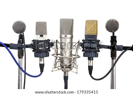 Several conference meeting microphones isolated on white background