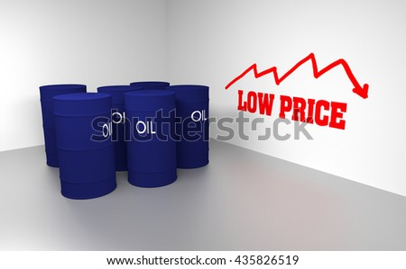 Several 3D blue drums/barrels and write text low price on the wall, 3d rendering