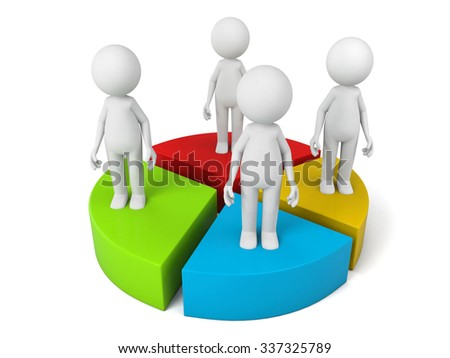Several 3D people and a few pieces of pie chart