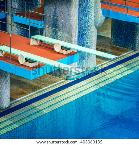 Several diving boards. - stock photo