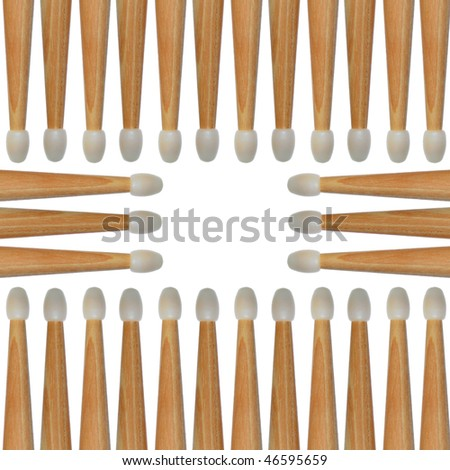 Several drumsticks isolated on white creates an abstract background pattern. Seamless. - stock photo