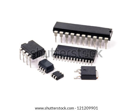 Several electric chips. The photo on the white background - stock photo