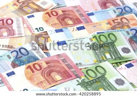 Several euro bills - stock photo