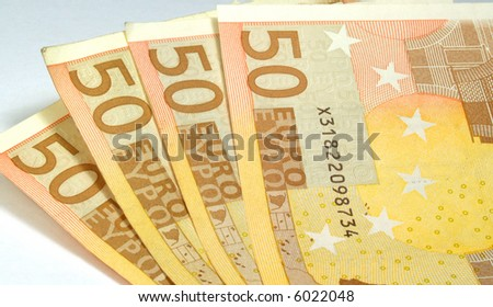 several fifty euro banknotes - stock photo