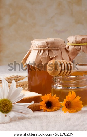 several flowers and honey on bagging - stock photo
