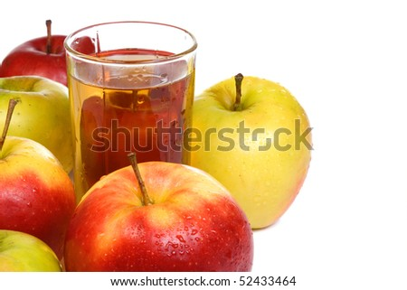 several fruits and glass full of juice