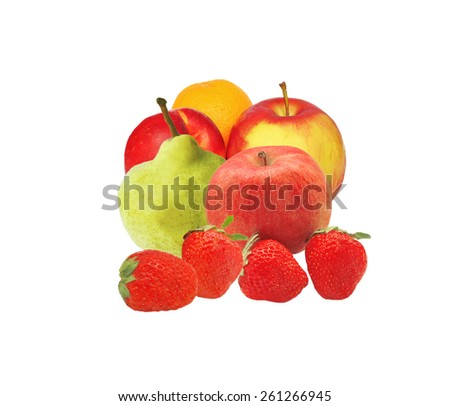 several fruits (orange, peach, strawberry, Apple) on a white background - stock photo
