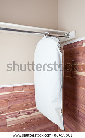 Several garments in a garment bag, hanging in a cedar lined closet. - stock photo