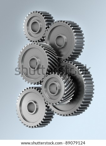 Several gear wheels symbolizing accuracy - stock photo