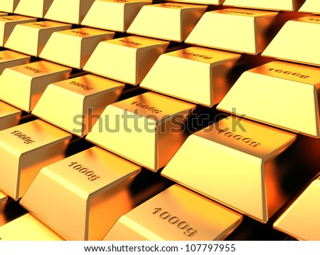 Several gold bars  in the vault bank, concept - stock photo