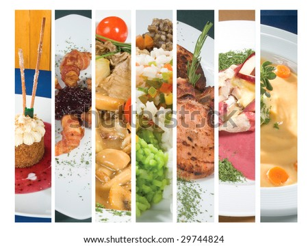 several gourmet plates collage - stock photo