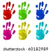 several handprint of different colors isolated on a white background - stock photo
