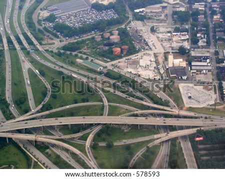 Several highways converge using complex viaducts - stock photo