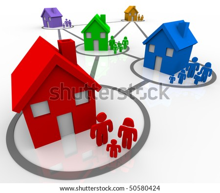 Several homes and families in connected neighborhoods - stock photo