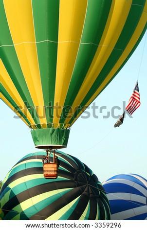 Several Hot Air Balloons Taking Off - stock photo
