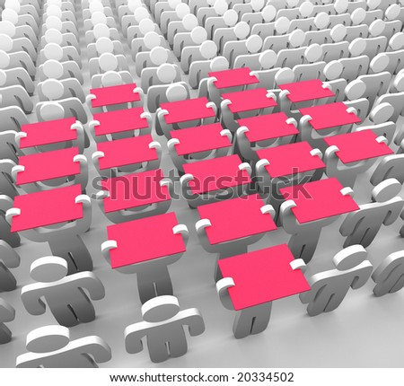 several human figures hold up pink boards to form the symbol of a heart - stock photo