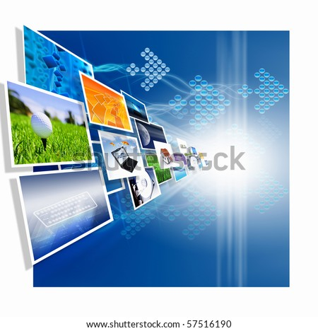 Several images from the current blue background - stock photo