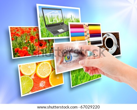 Several images from the current blue background and womanish hand - stock photo