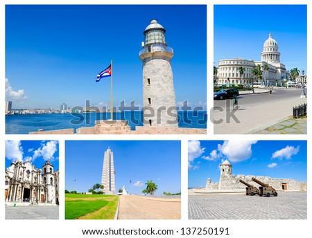 Several images of main landmarks in Havana - stock photo