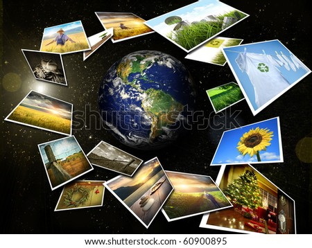 Several images streaming around the earth in space - stock photo