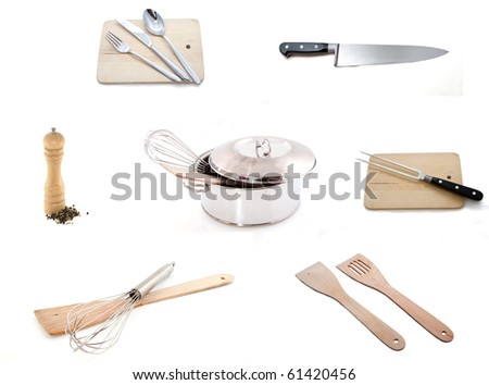 Several items for us in the kitchen on a white background. - stock photo