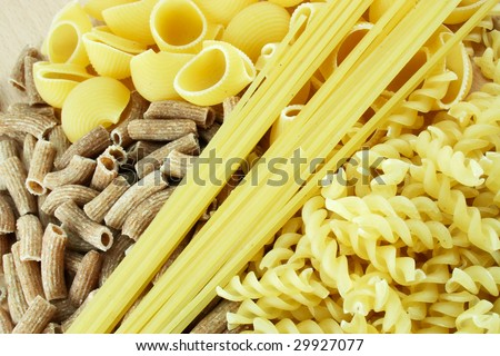 Several kinds of macaroni in some order