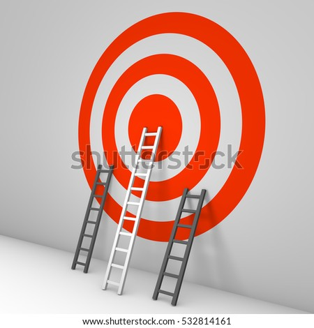 Several ladders leaning against the wall with target. 3d render.