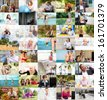 Several Lifestyle images arranged together into a colorful collage - stock photo
