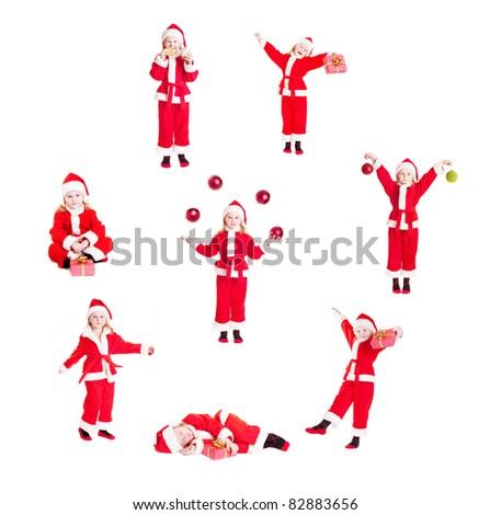 several little Santas isolated on white (same model) - stock photo