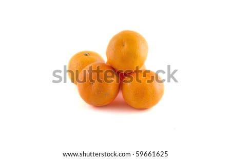 Several mandarins on a white background.