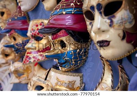 Several masks in Venice in Italy - stock photo