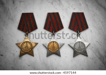 Several military medals - stock photo