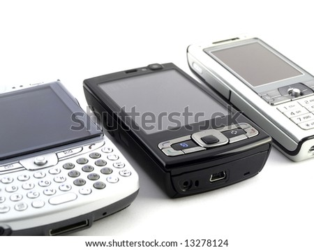 Several Modern Mobile Phones on White Background - stock photo