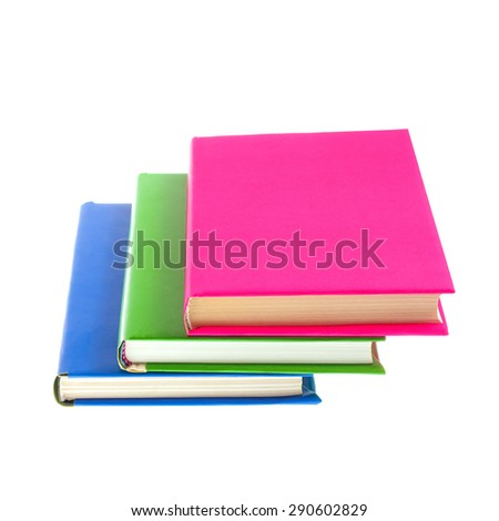 Several multicolored bright books isolated on white background - stock photo