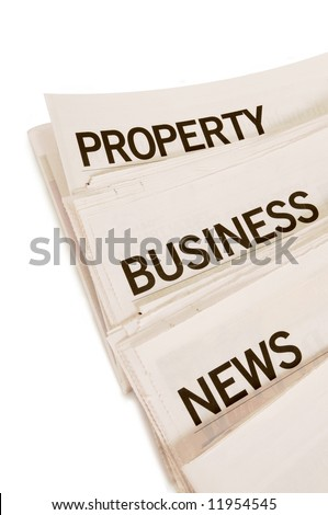 Several newspapers with news headlines isolated on a white background
