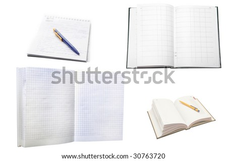 Several note-books under the white background - stock photo