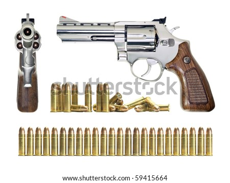 Several objects in different positions of the gun and bullets. All objects are over white. - stock photo