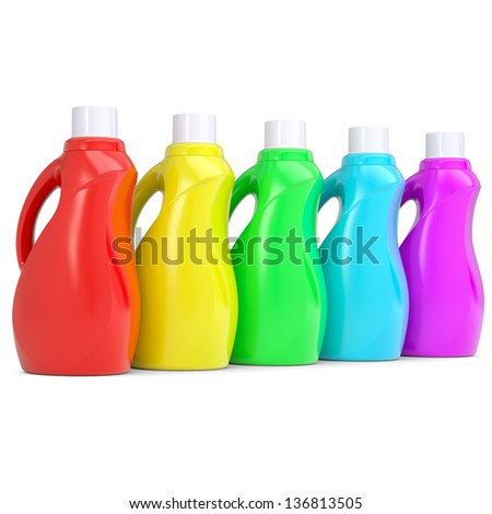 Several of multi-colored plastic bottles. Isolated render on a white background