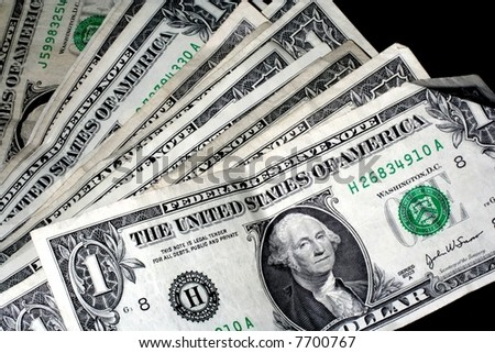 Several old, wrinkled ,dirty,creased dollar bills - stock photo