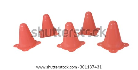 Several Orange Traffic Cones used to direct traffic - path included - stock photo