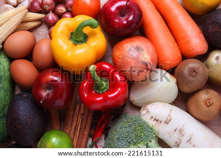 Several Organic Ingredients as background - stock photo