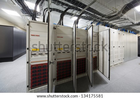 Several outdoor telecom racks in the server room. - stock photo