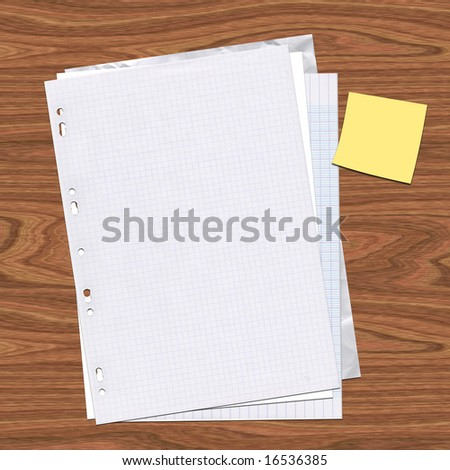 Several pages of paper stacked on a wood desk with a post-it note - stock photo