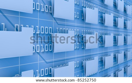 several pc folders and a background wall with binary code (3d render) - stock photo