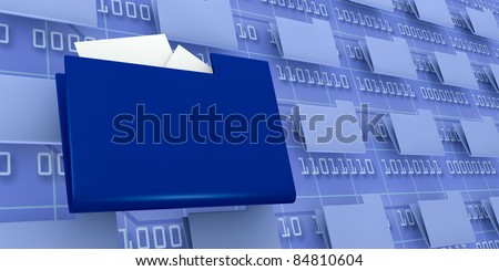 several pc folders with one in evidence and a background wall with binary code (3d render) - stock photo