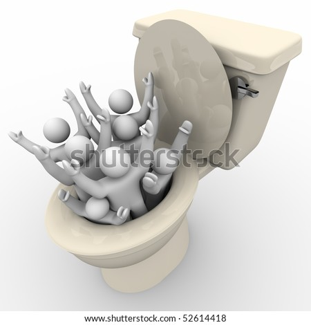 Several people are flushed down the toilet - stock photo