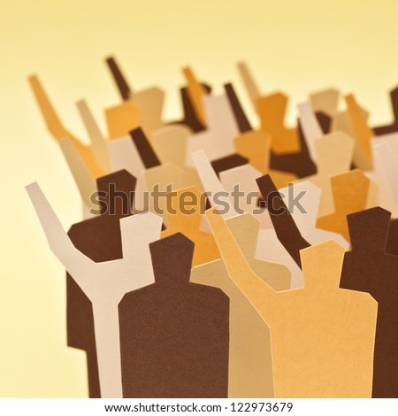 Several people of the same group/society showing different opinions. - stock photo